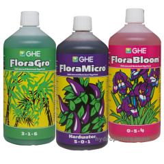 Набор удобрений Flora Series GHE 3 по 1 л для жёсткой воды